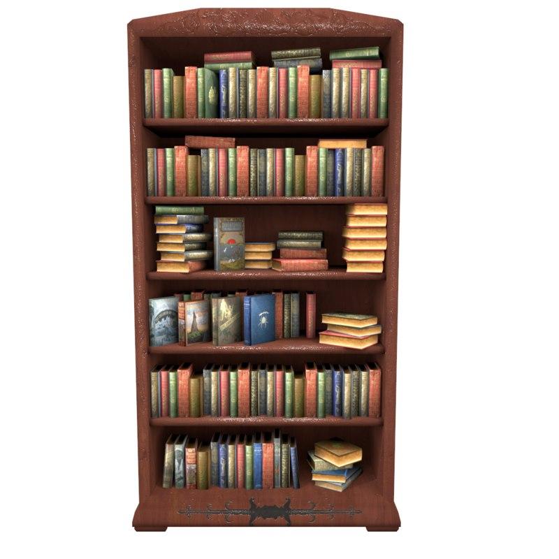 Bookcase Books Obj