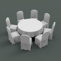 3d table chair banquet model