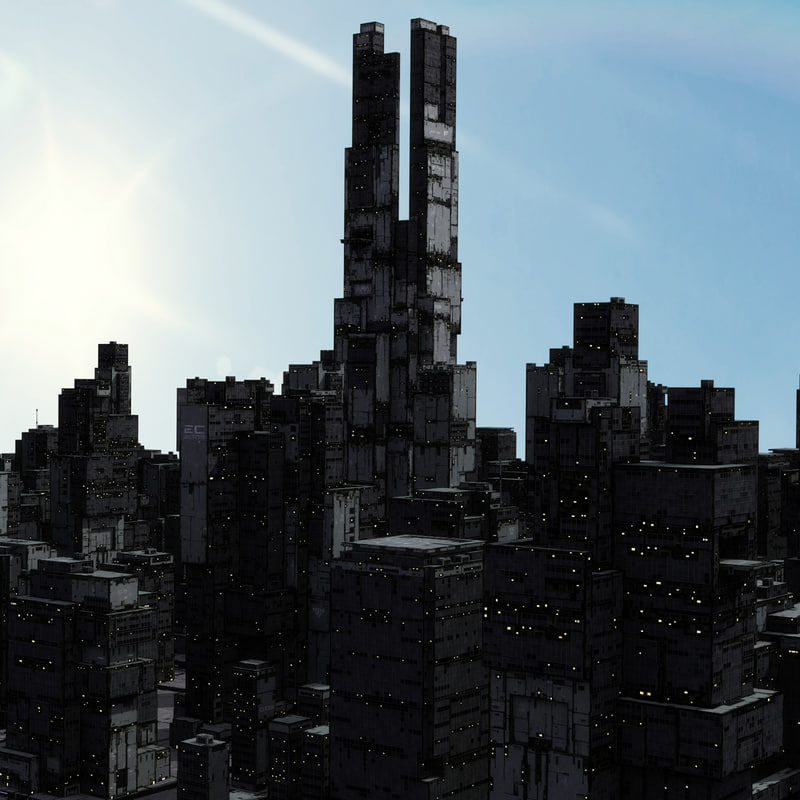 3d model scifi skyscraper building