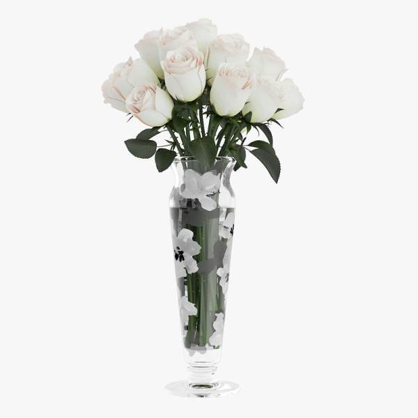 White Rose Bouquet Vase