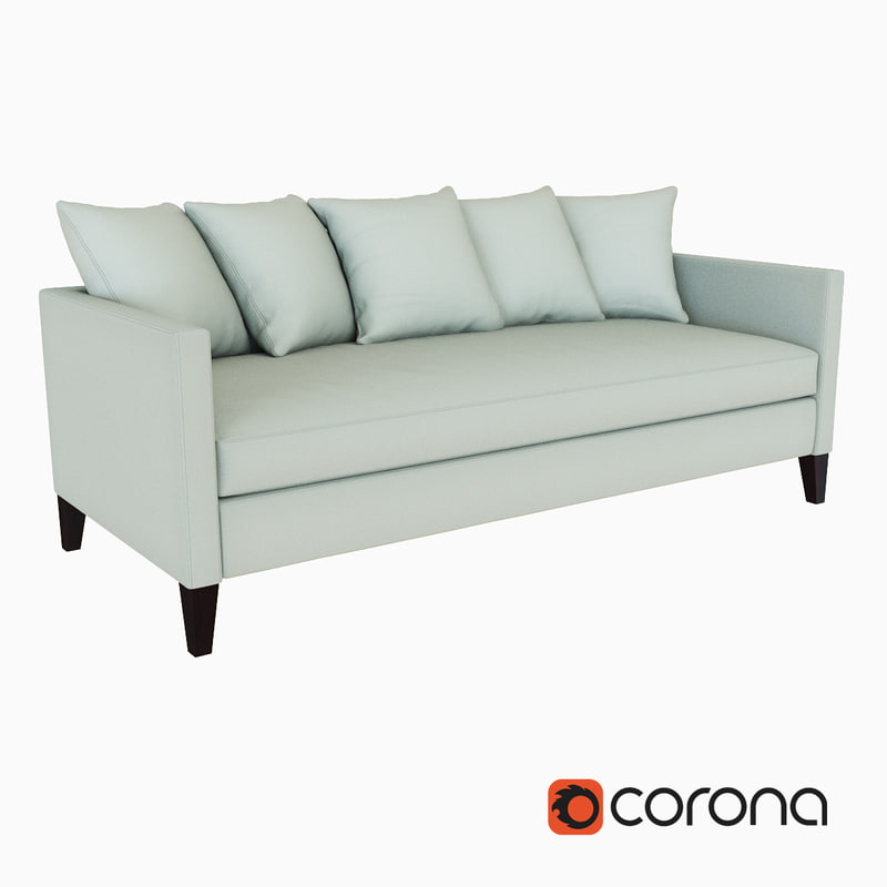 dunham sofa velvet tufted sleeper west elm 3d model