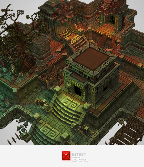 3d Animation Wallpaper For Pc Hand Painted Mayan Temple 3d Model