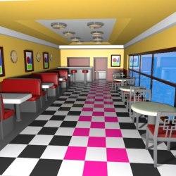 cartoon restaurant burger interior 3d hq