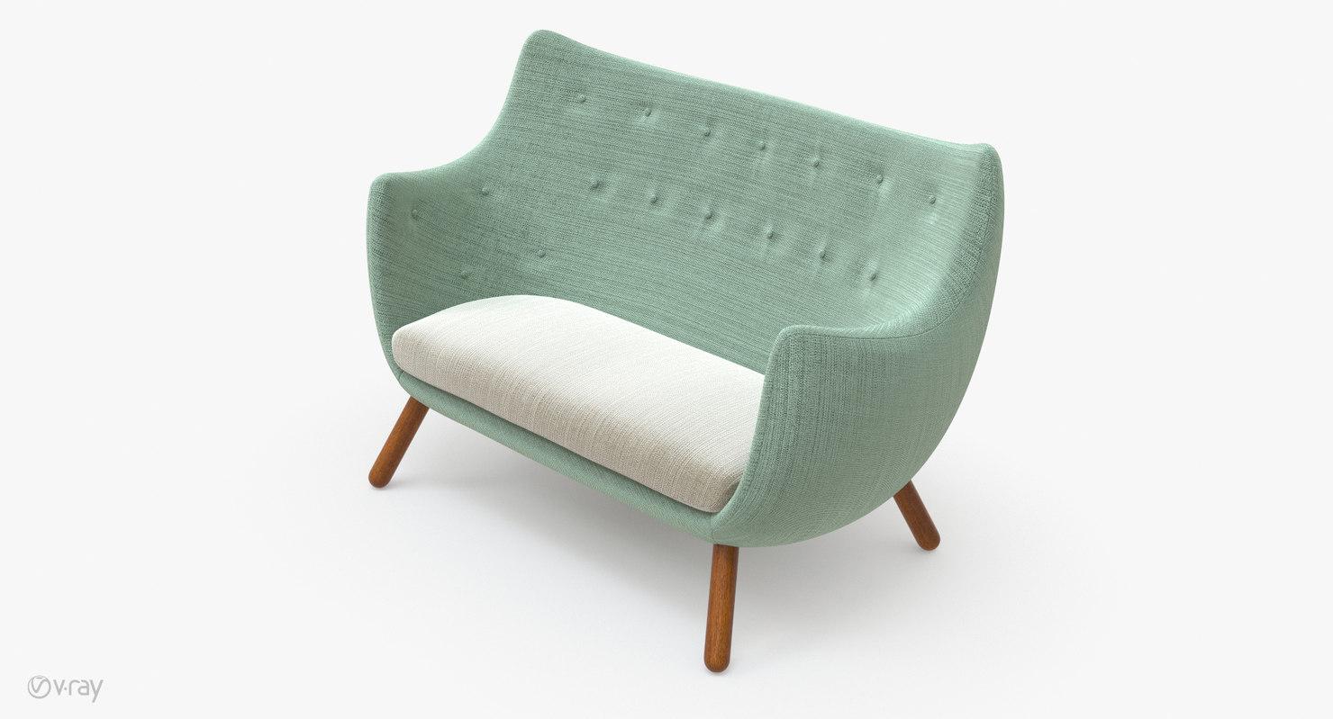 finn juhl poet sofa sale kendall sears 3d model