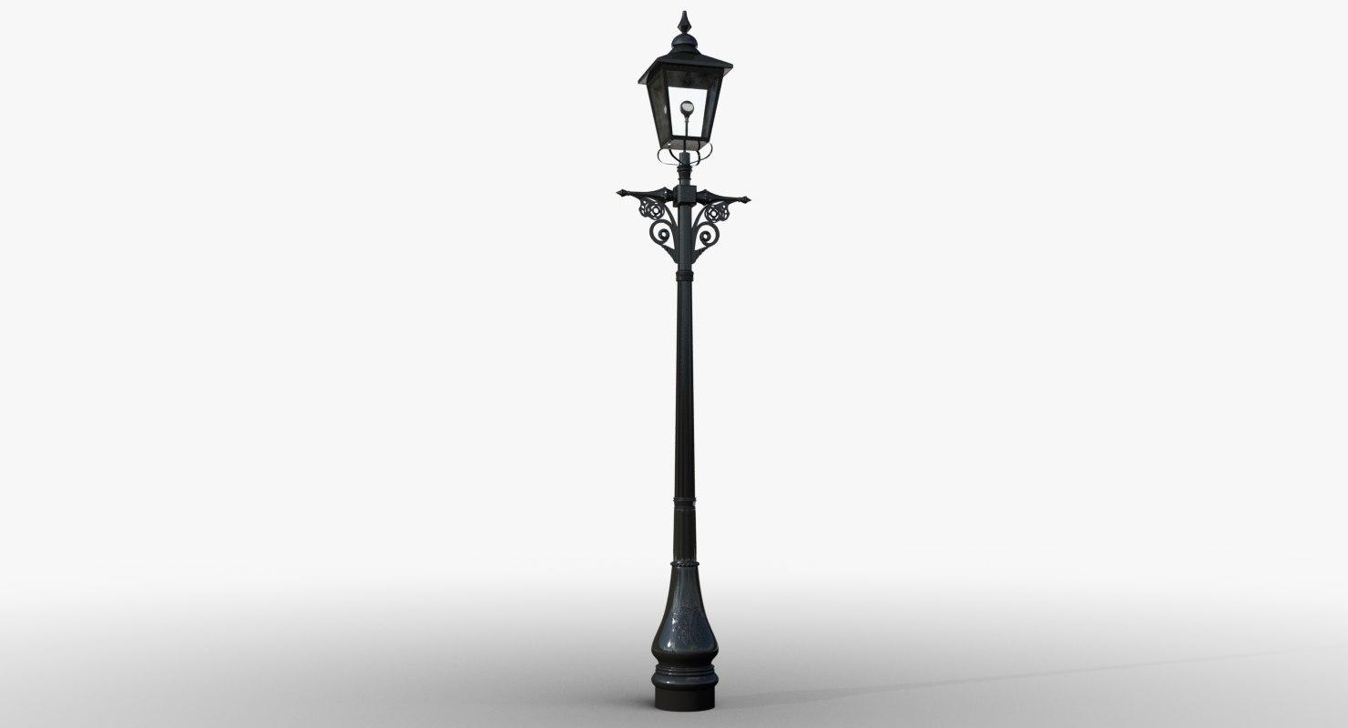 3d victorian lamp post lighting model