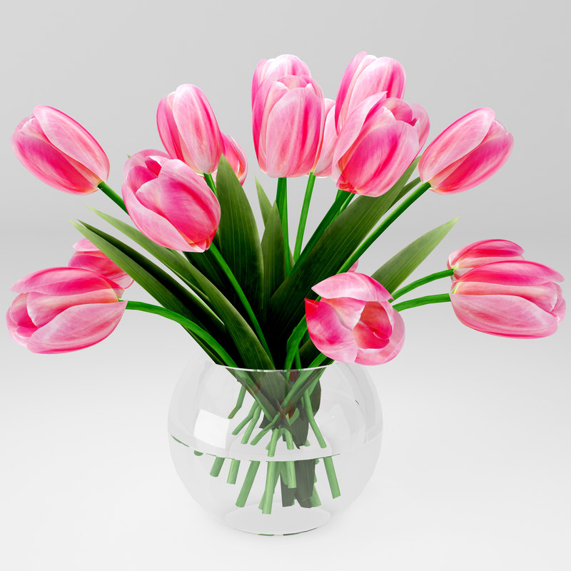 realictic bouquet of tulips