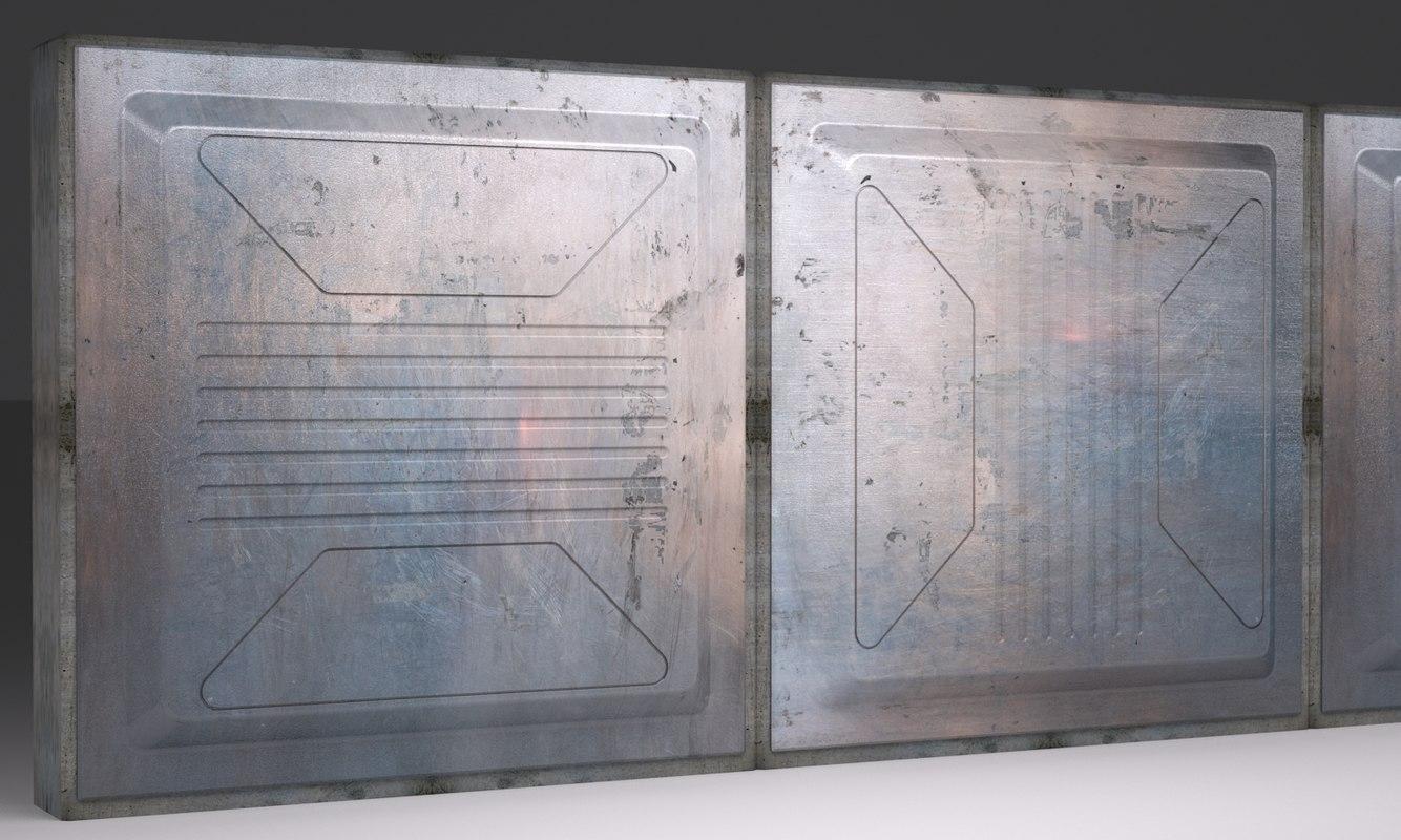 scifi wall panel vx 3d model