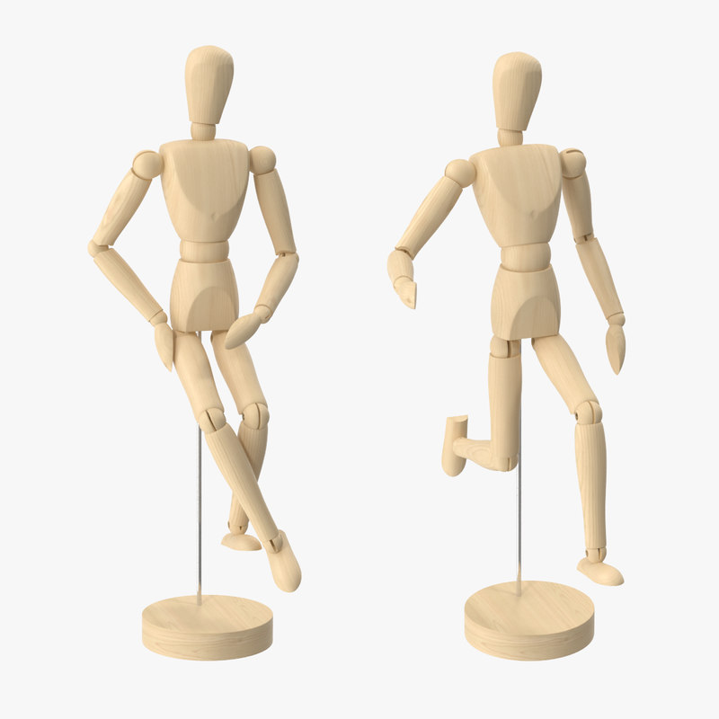 wooden mannequin 2 poses