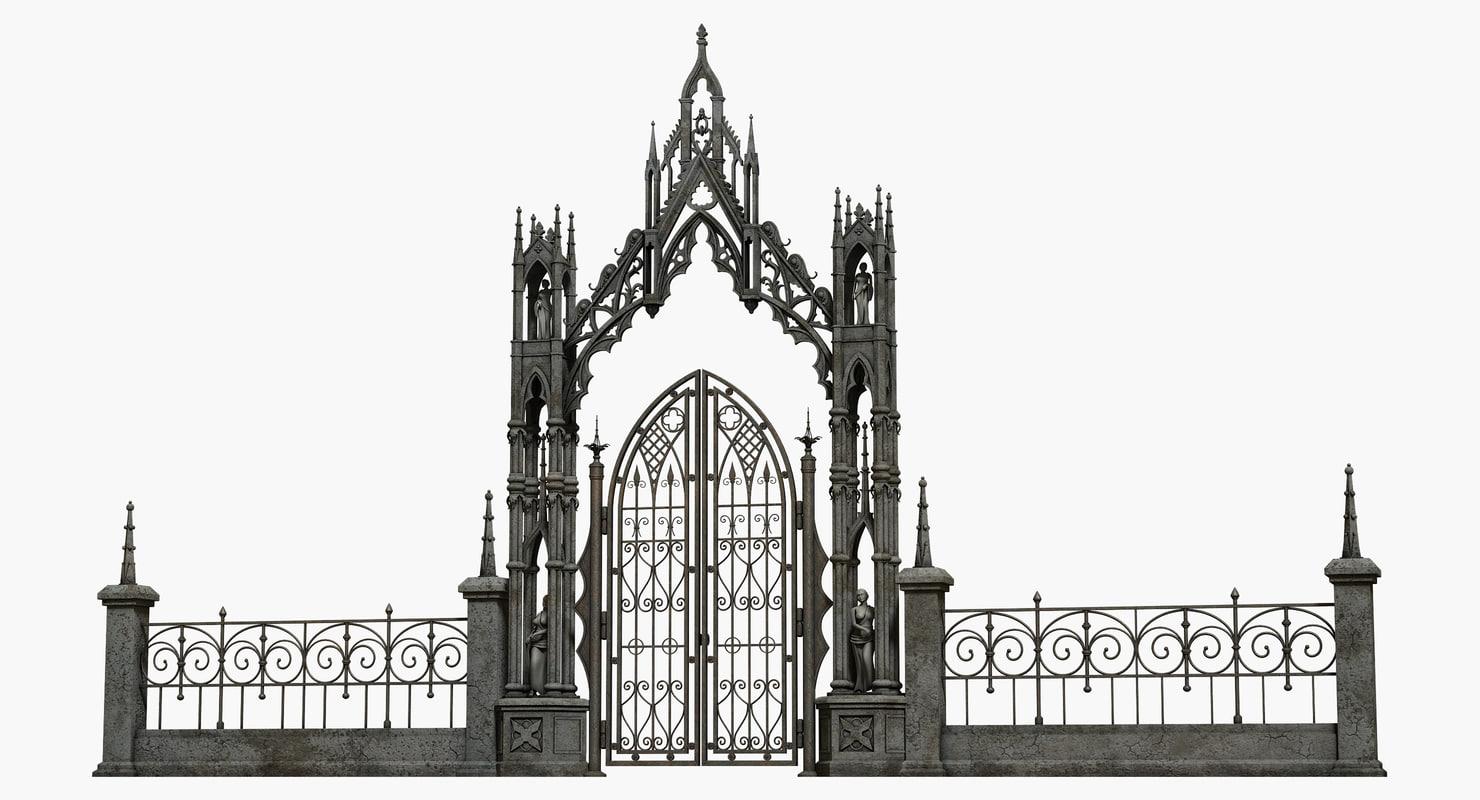 3d model gothic gate