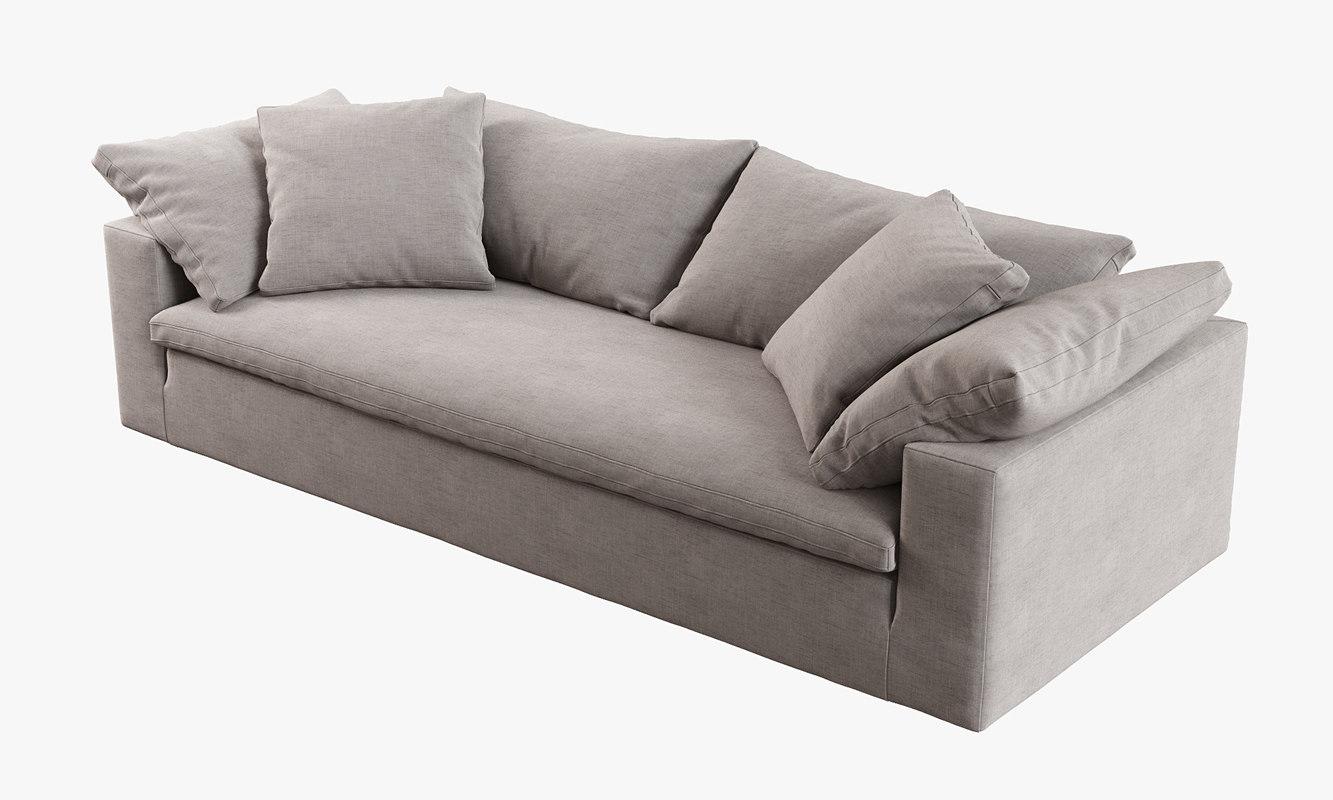 petite belgian track arm slipcovered sofa tan covers restoration hardware cloud 3d model