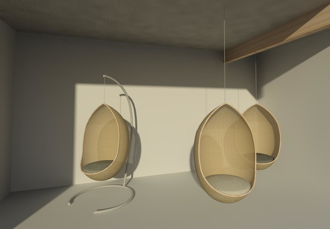 office chair 3d model video game with cup holder building other hanging egg revit
