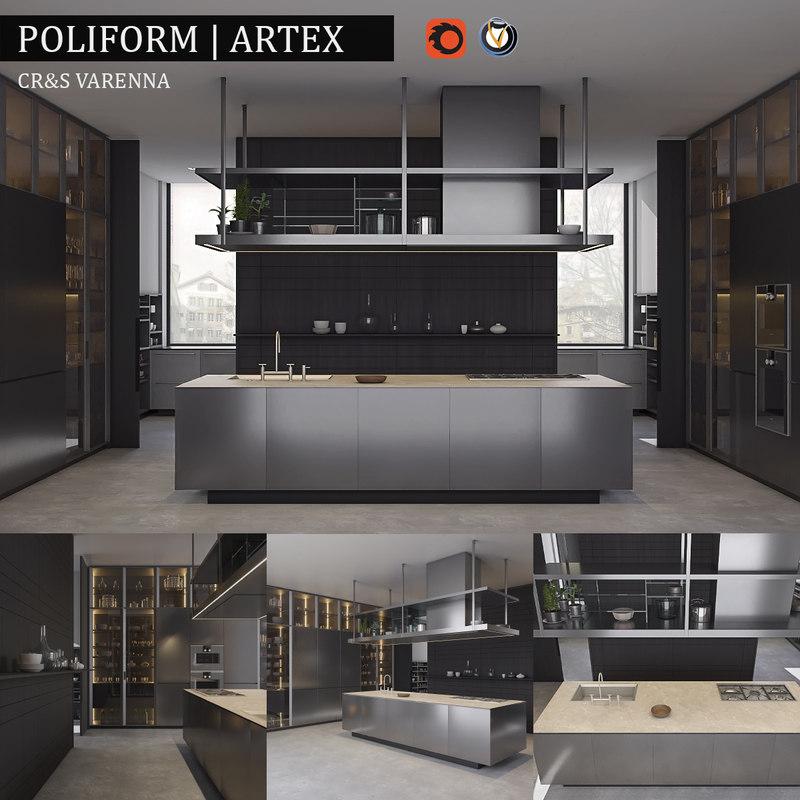 3d Kitchen Poliform Varenna Artex Model