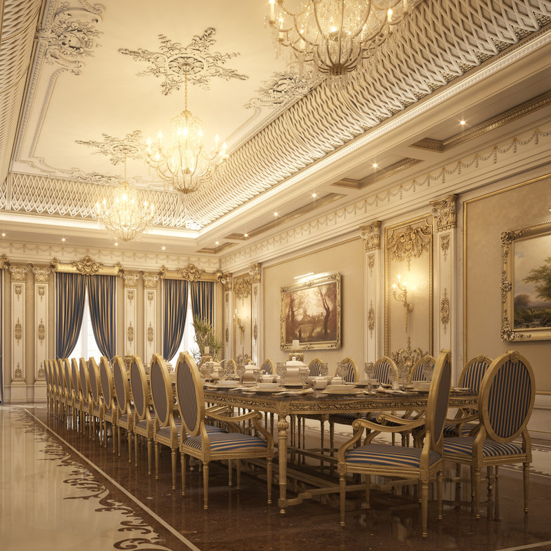 3d model realistic luxury dining room