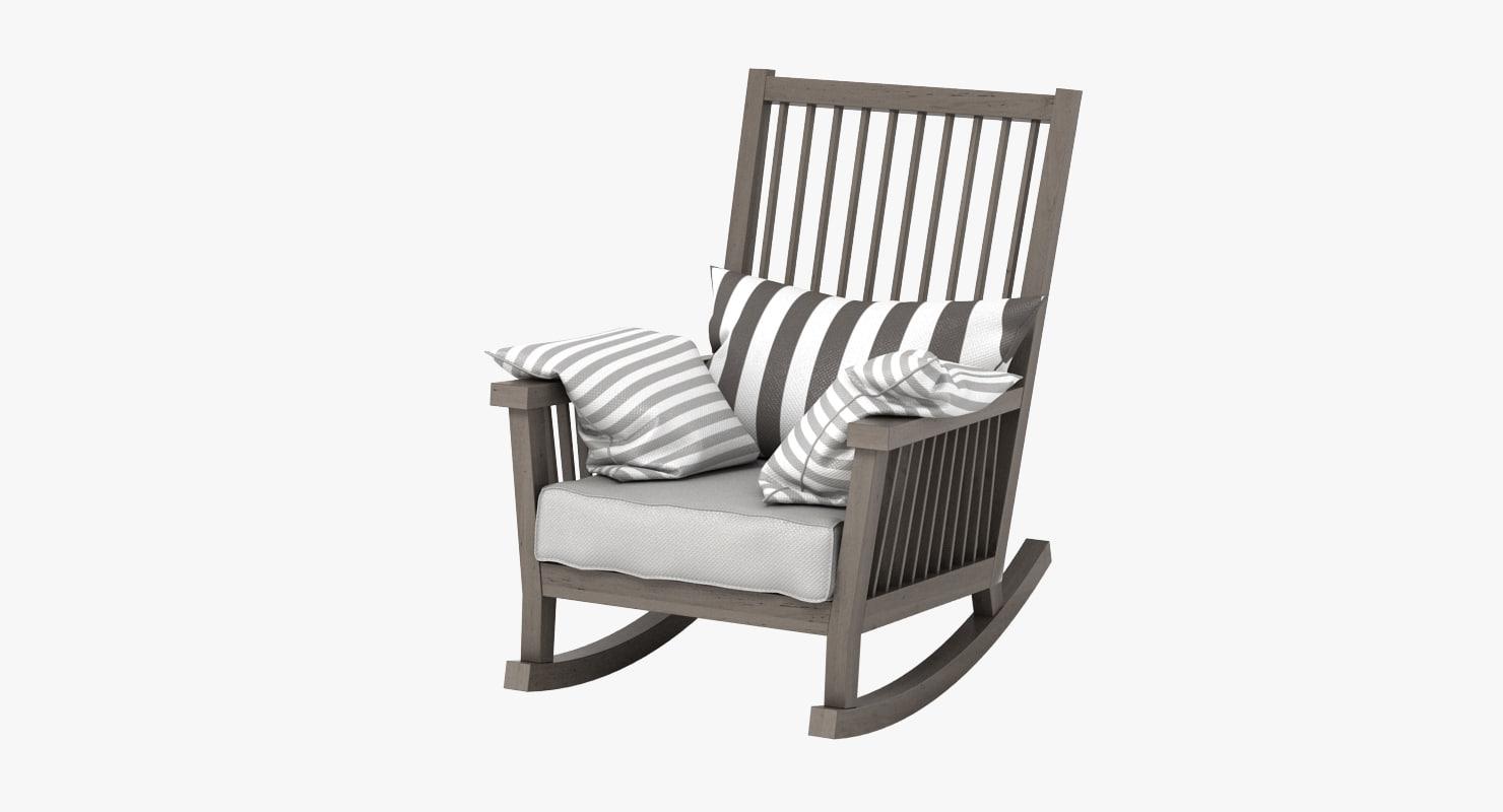 3d gervasoni gray rocking chair model