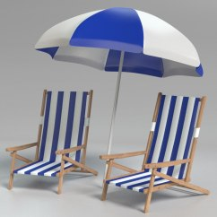 Beach Chairs And Umbrella Cheap Table 3d 3ds