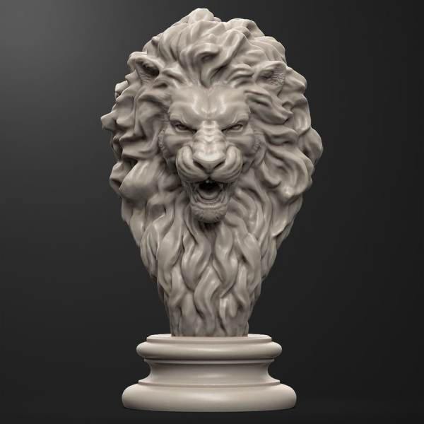 Lion Head Sculpture Model - Of And Antique