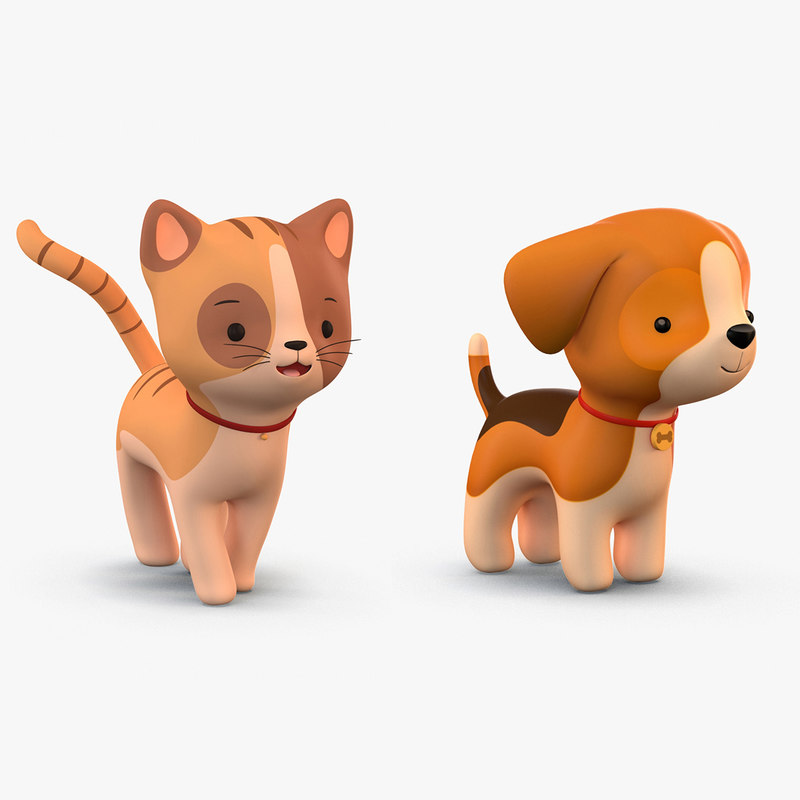 cute cartoon cat dog