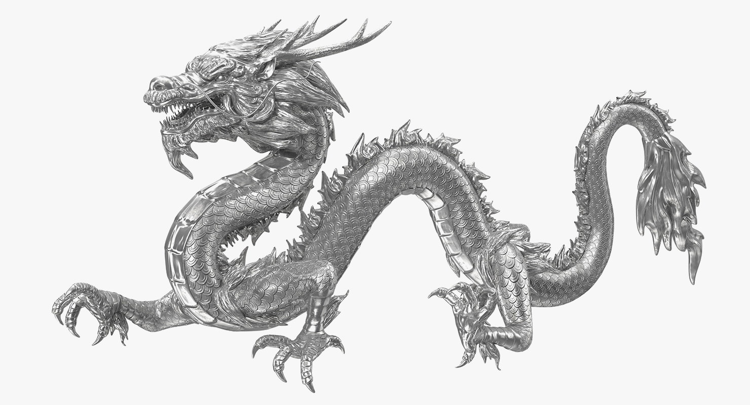 silver chinese dragon statue
