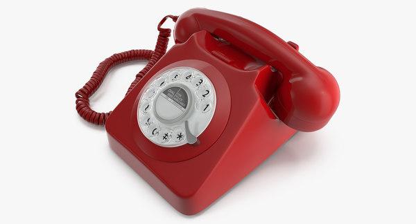 modele 3d de telephone fixe filaire design retro turbosquid 1387633