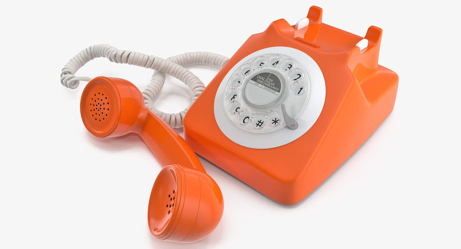 hight resolution of fashioned rotary dial phone 3d model