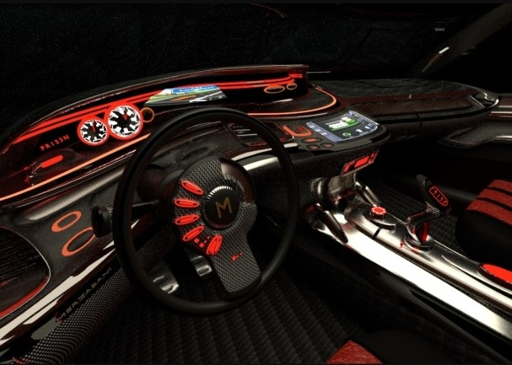 3d car dashboard futuristic