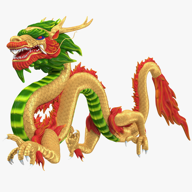 colorful chinese dragon rigged