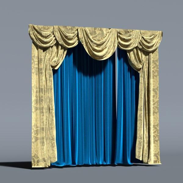 modele 3d de rideau classique luxe baroque verriere decoration de fenetre glamour turbosquid 1471815
