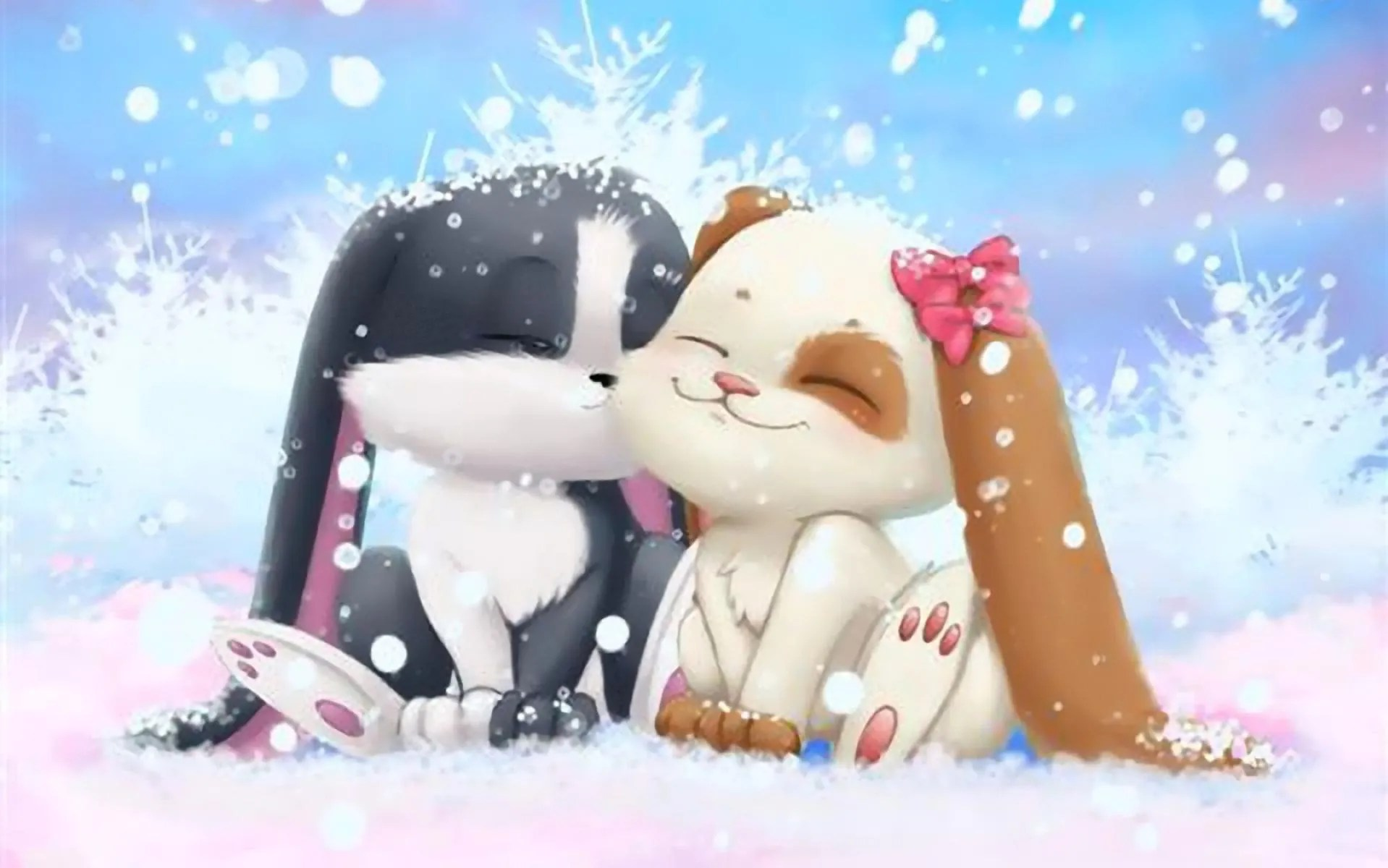 Cute Little Love Couple Hd Wallpaper Bunnies For Cuteness Image Links Tv Tropes