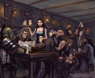 fantasy medieval european tavern pub king party court tv characters