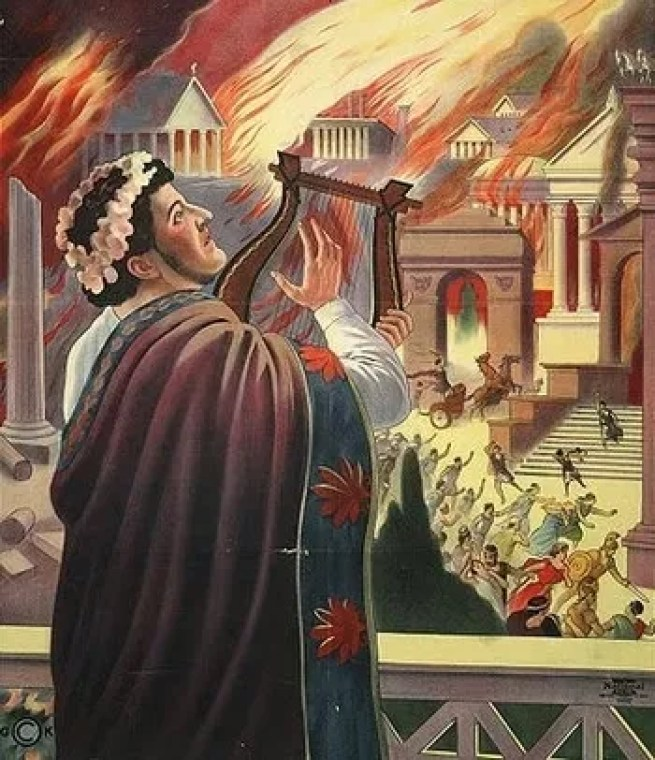 Image result for picture of nero fiddling while Rome burns