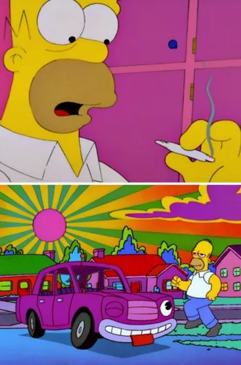 Homer Simpson getting stoned