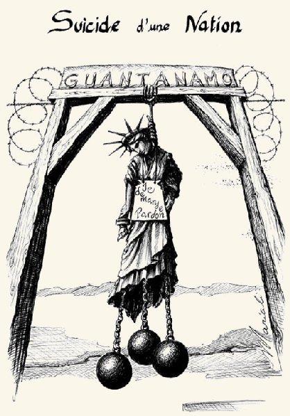 Karikatur Selbstmord Guantánamo