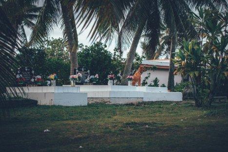 Traditionelle Gräber im Garten der Bewohner