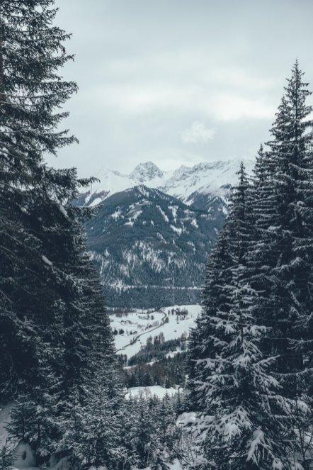 Blick über das Alpenpanorama während der Schneeschuhwanderung