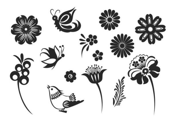 Stylized Butterfly and Flower Vector Pack Download Free