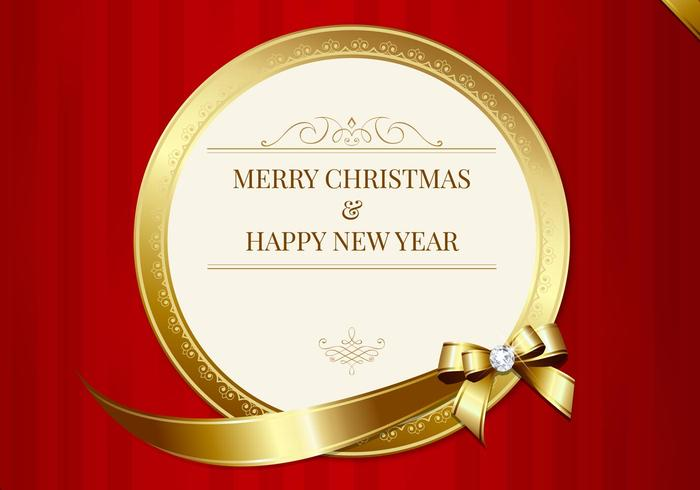 Luxurious Merry Christmas Card Vector Download Free