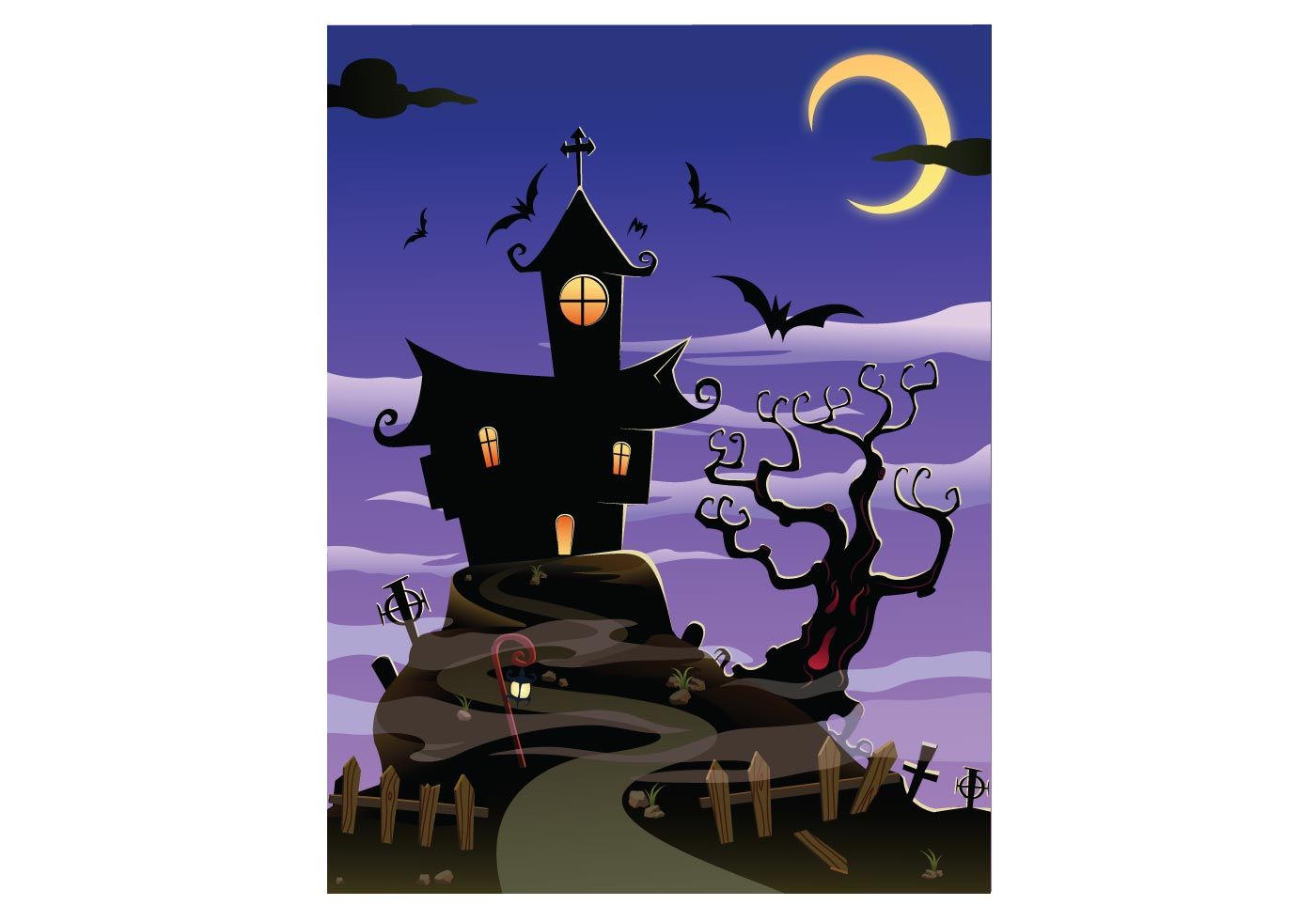 Fall Witch Wallpaper Free Spooky House Halloween Download Free Vector Art