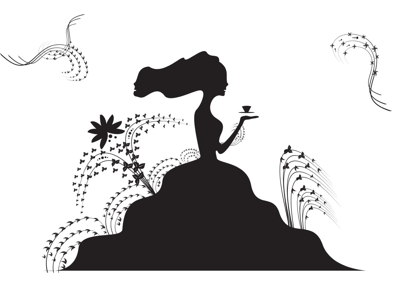 Free Lady with a Tea Cup Vector
