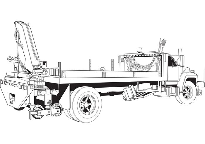 Free Vector Flatbed Truck with Boom Crane Illustration at