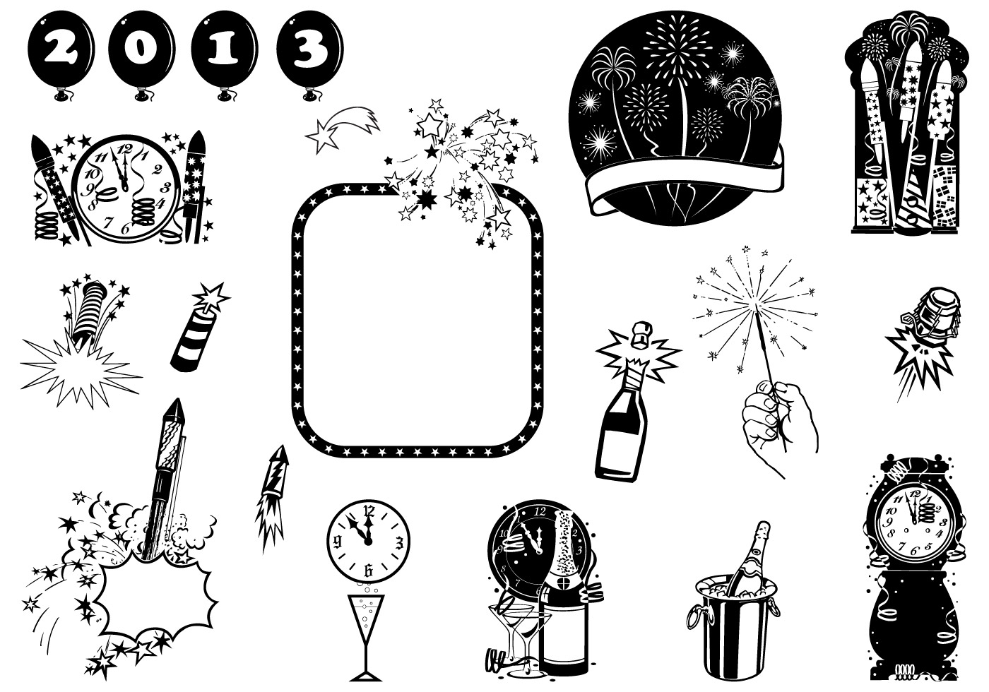New Year S Eve Vector Element Pack