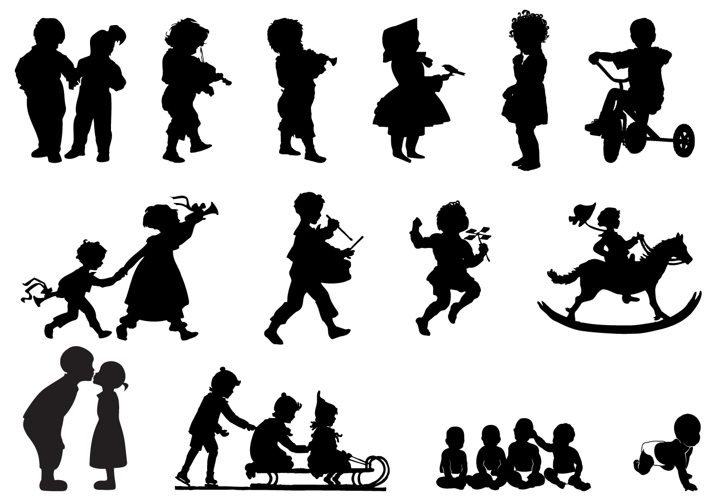 Children Running Silhouette Download Free Vector Art Stock