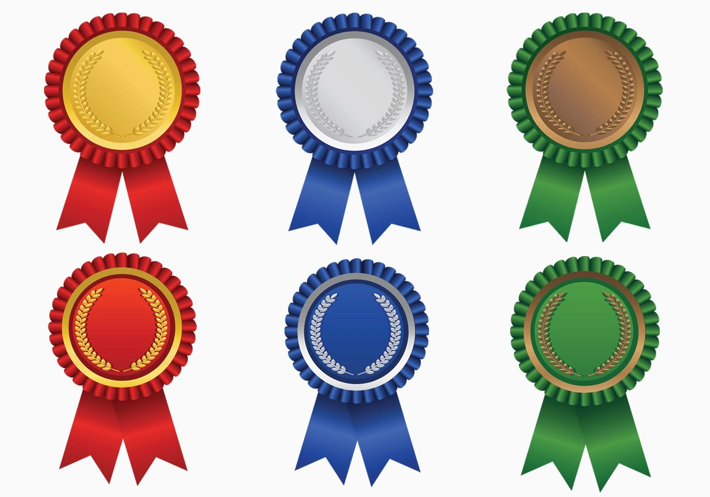 Bright Colored Award Ribbon Vector Pack