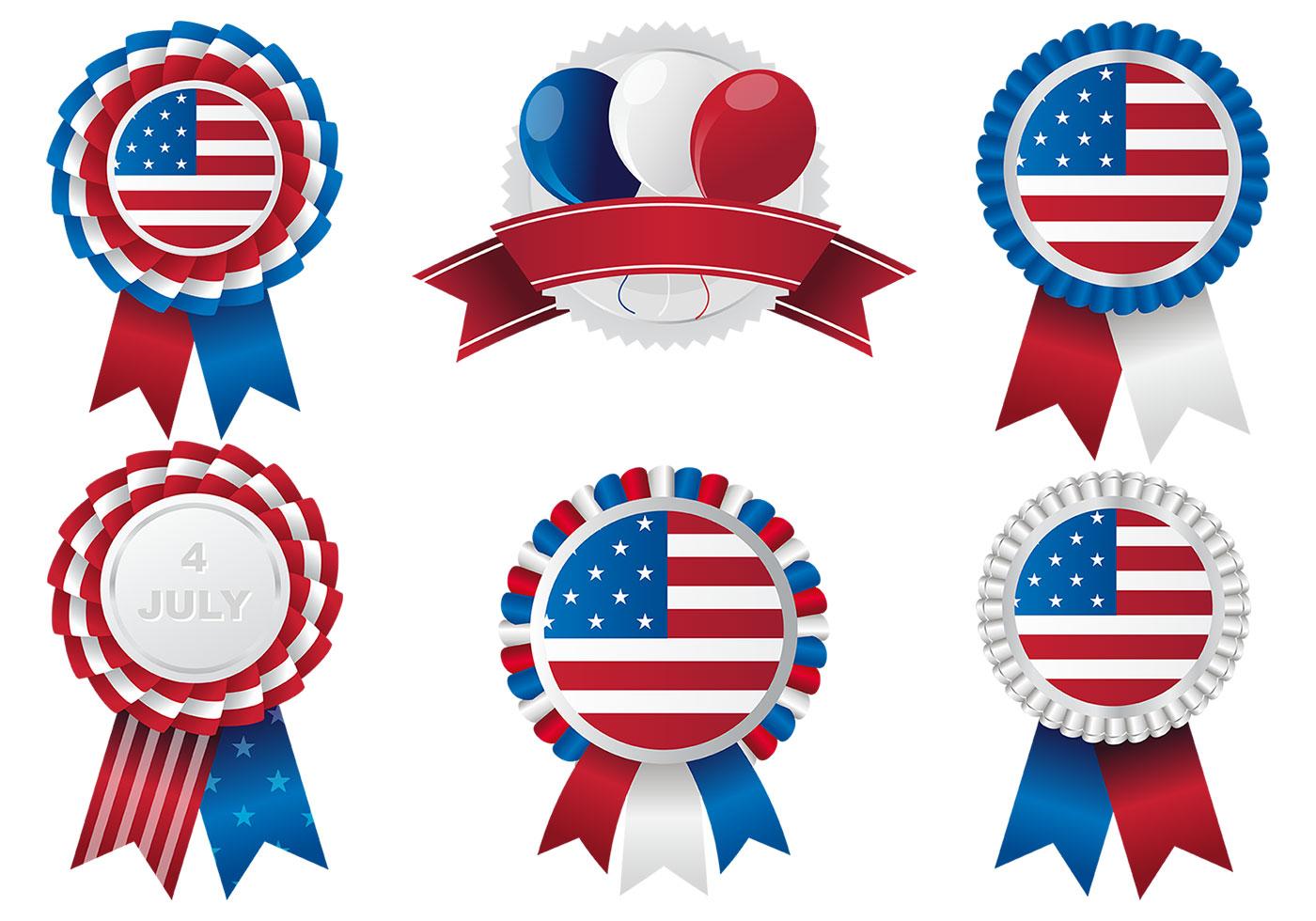 Patriotic Rosettes Vector Pack Download Free Vectors