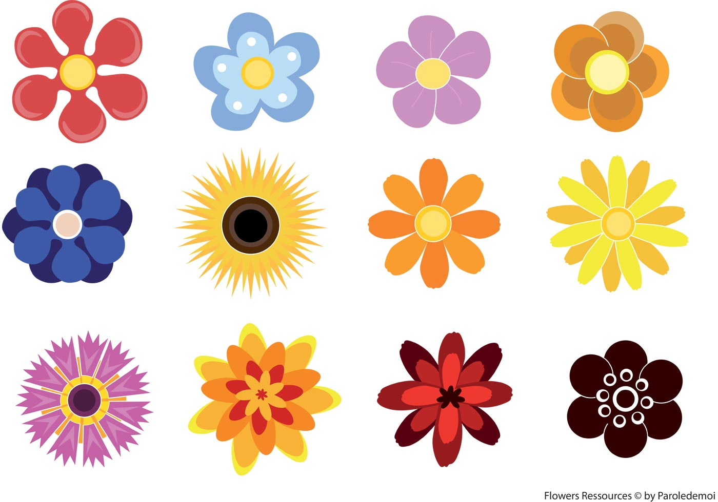 Cute Flowers Download Free Vector Art Stock Graphics