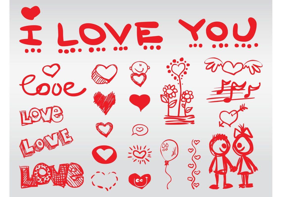 Download Love Doodles - Download Free Vector Art, Stock Graphics ...