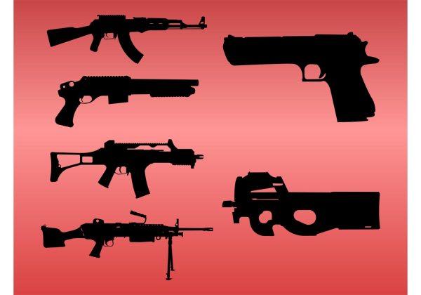Gun Silhouettes - Free Vector Art Stock Graphics