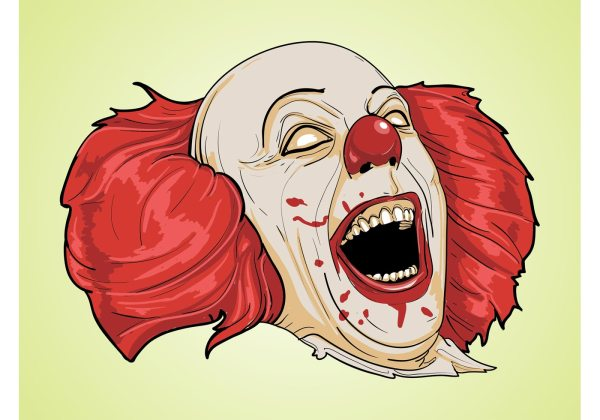 scary clown free vector art - 4088
