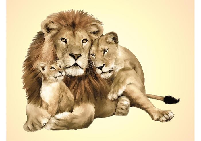 Cute Baby Couple Hug Wallpaper Lion Family Vector Download Free Vector Art Stock