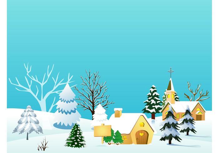 Christmas Village Vector Illustration Download Free
