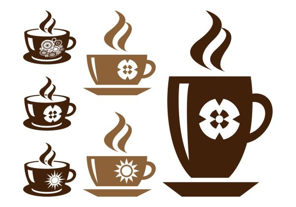 Coffee Cups Silhouette Set - Free Vector Art